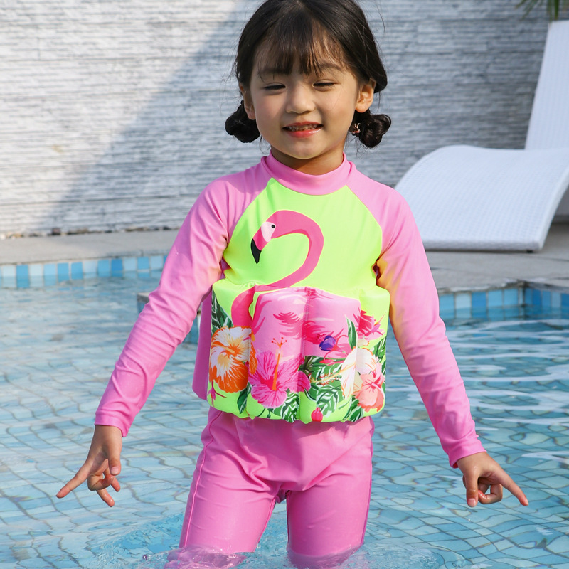 Kid Girls Print Pink Flamingos Float Adjustable Buoyancy Swimsuit with Cap