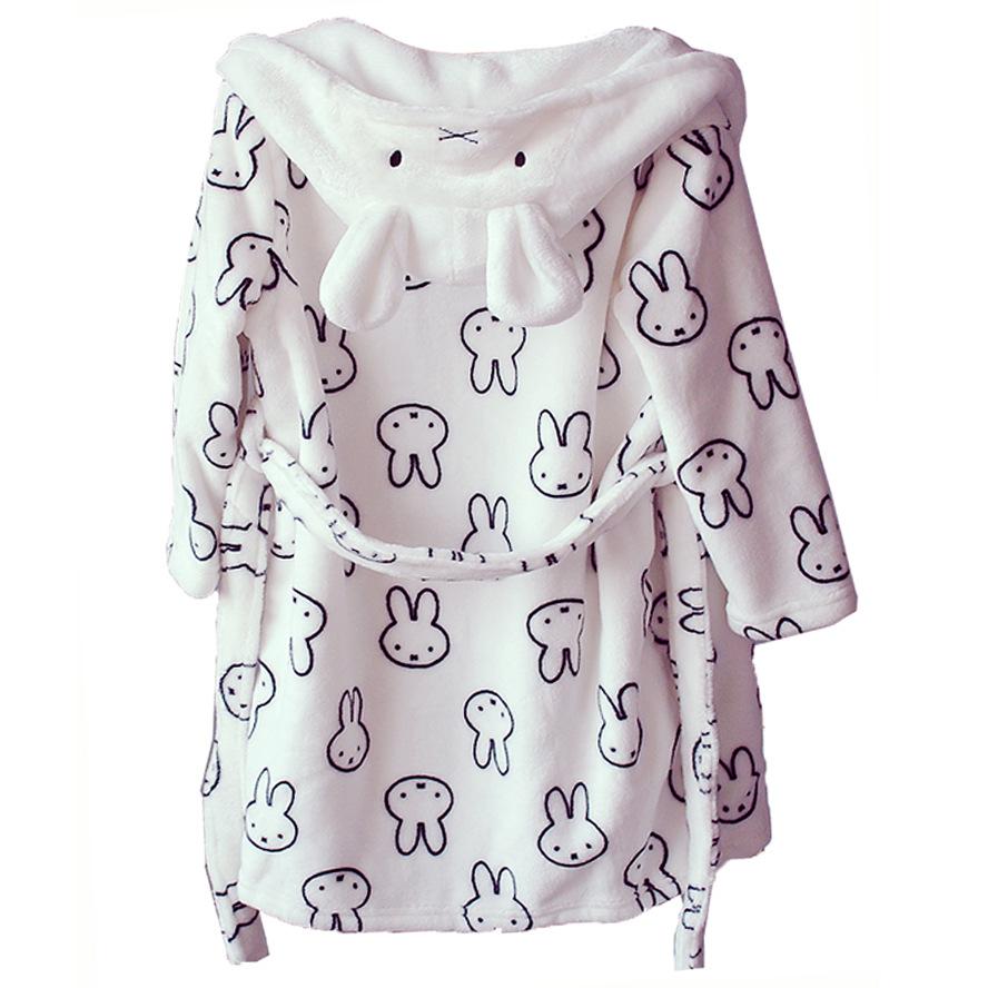 Kids Miffy Rabbit Hooded Bathrobe Sleepwear Comfortable Loungewear