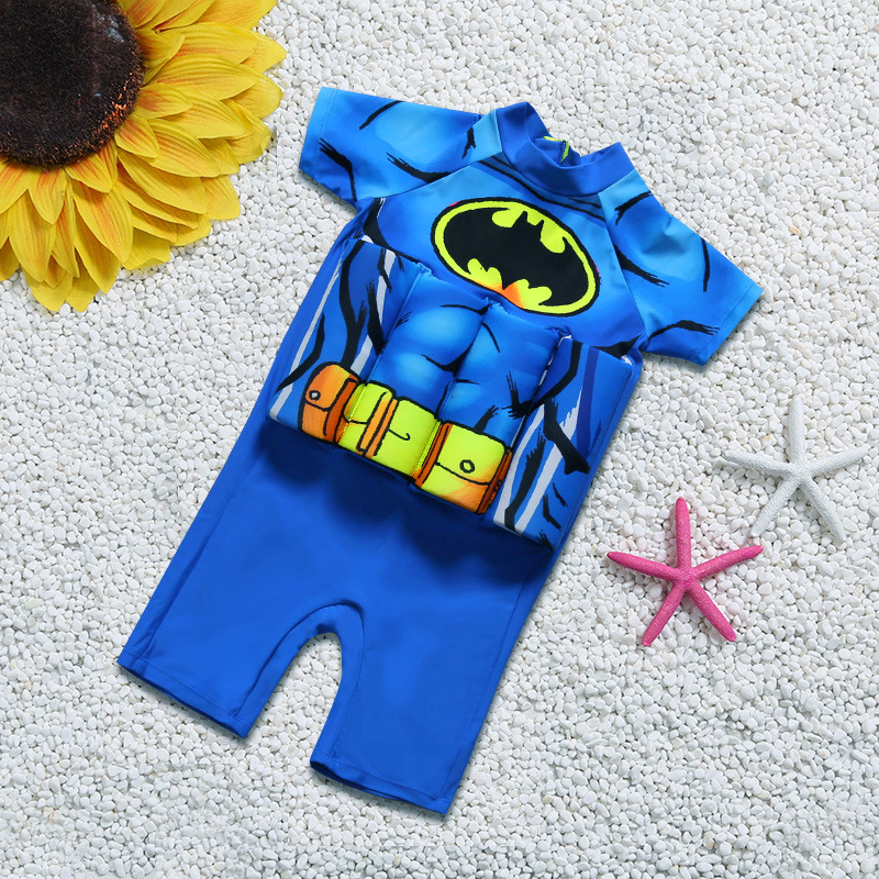 Kid Boys Print Bat Man Float Adjustable Buoyancy Blue Swimsuit with Cap