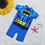 Kid Boys Print Bat Man Float Adjustable Buoyancy Blue Swimsuit with Cap