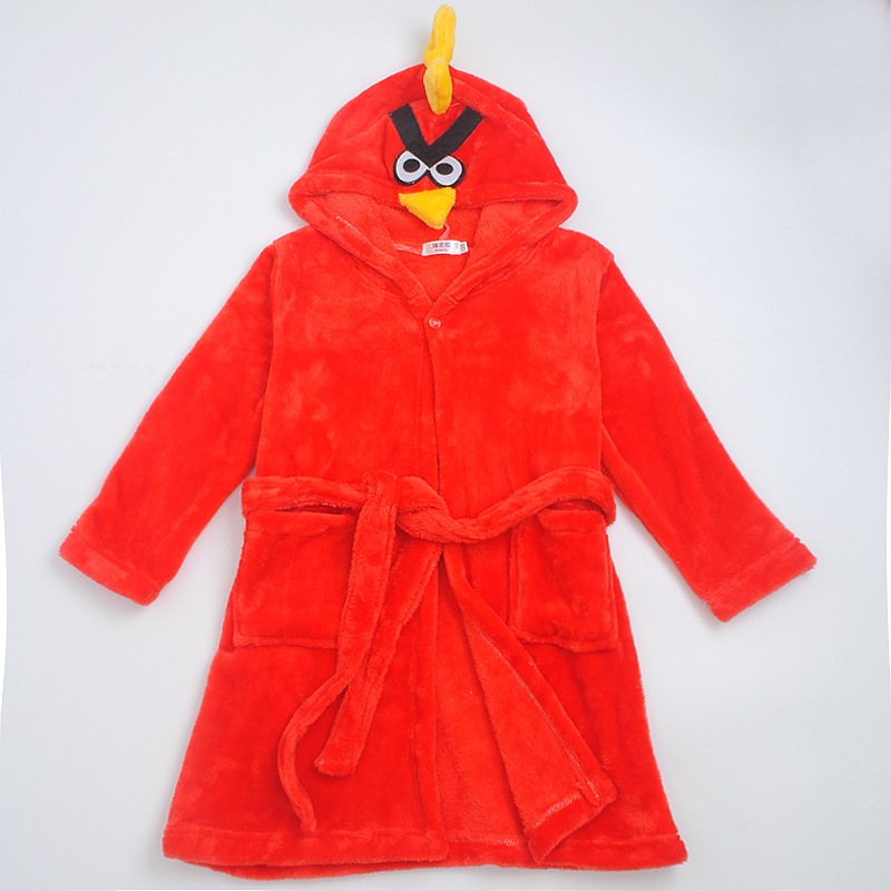 Kids Red Angry Bird Hooded Bathrobe Sleepwear Comfortable Loungewear