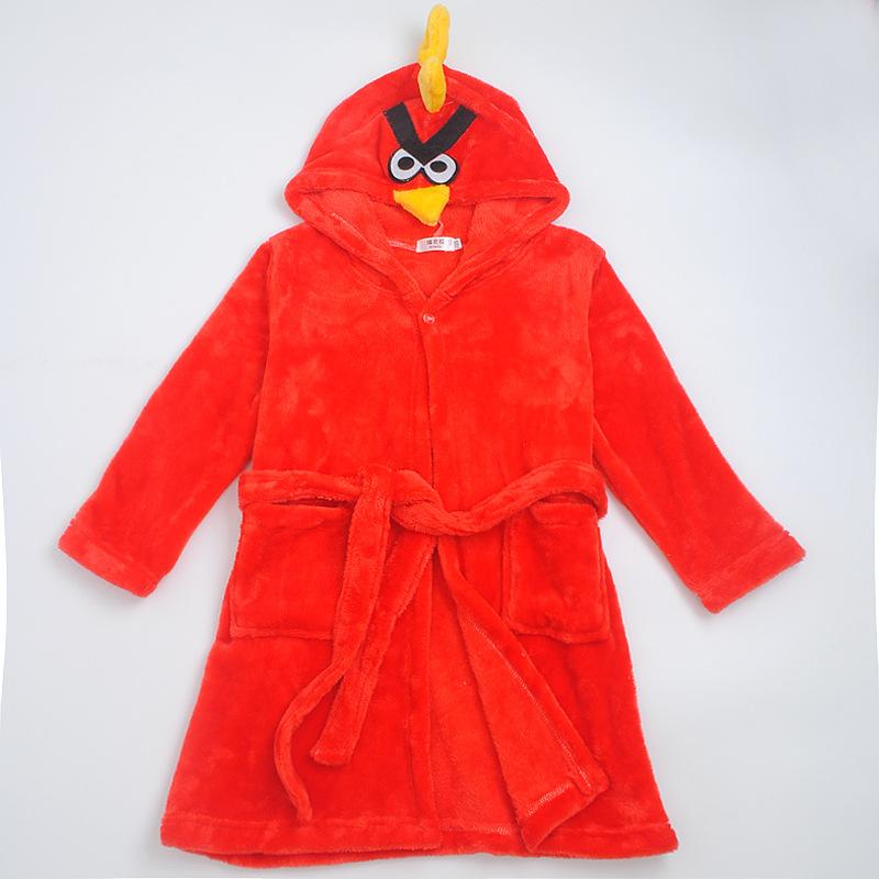 Kids Red Angry Bird Hooded Bathrobe Sleepwear Comfortable Loungewear