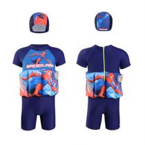 Kid Boys Print Spider Man Float Adjustable Buoyancy Swimsuit with Cap
