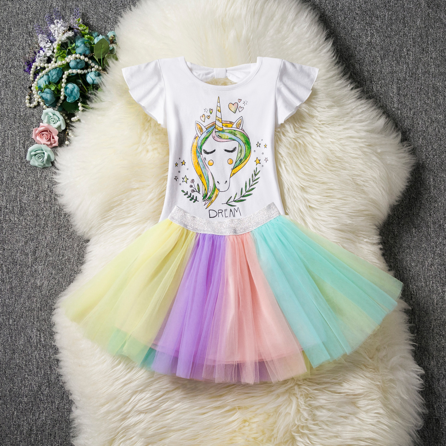 Kid Girl Print Stars Unicorn Top and Rainbow Tutu Mesh skirt Two Pieces