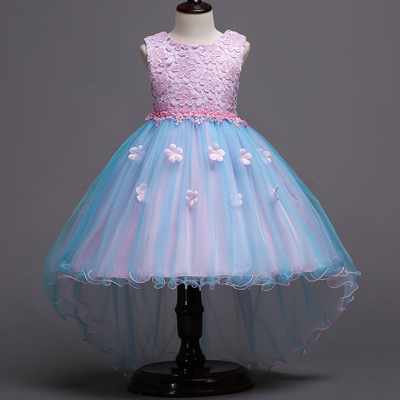 Kid Girl 3D Lace Embroidery Flower Pearls Bowknot Mesh Wedding Party Sleeveless Dresses
