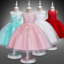 Kid Girl Embroidery 3D Flowers Mesh Lace Flower Girl Dress With Bowknot