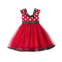Kid Girl Dots Pompadour Bowknot Tutu Dress