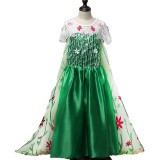 Kid Girl Hollow Embroidery Short Sleeve With 3D Flowers With Trailing Tail Dress