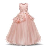 Kid Girl 3D Flowers Bowknot Lace Mesh Princess Sleeveless Dress