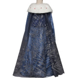 Kid Girl Frozen Anna Snowflake Winter Dress With Long Mesh Cloak