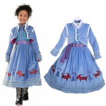 Kid Girl Frozen Aisha Cartoon Winter Dress With Vest
