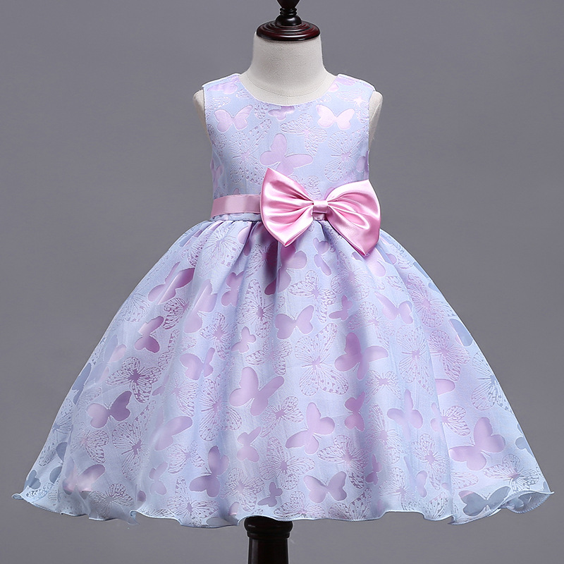 Kid Girl Pink Purple Butterflies Bowknot Binding Party Sleeveless Dress