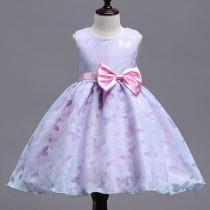 Kid Girl Pink Purple Butterflies Bowknot Binding Party Sleeveless Dress