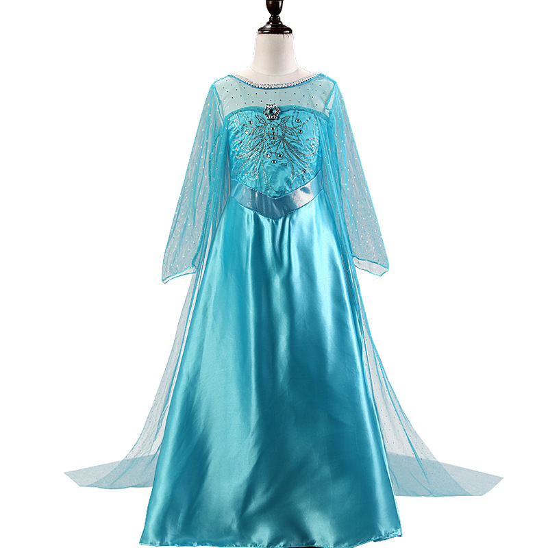 Kid Girl Frozen Jewel Sapphire Sequins Long Train Blue Dress