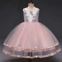 Kid Girl Unicon 3D Embroidery Flowers Two Layers Mesh Sleeveless Party Satin Dress