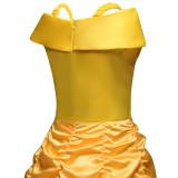 Kid Girl Belle Royal Princess Red Jewel Strap Yellow Dress