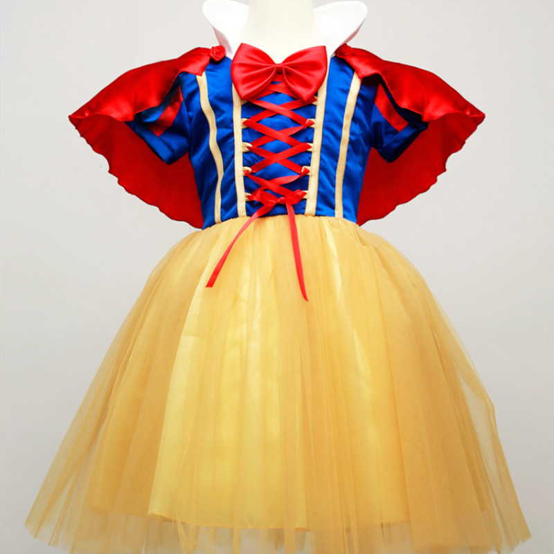 Kid Girl Short Snow White Bowknot Bind Mesh Princess Dress