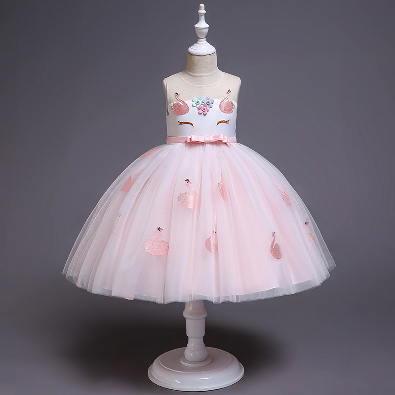 Kid Girl 3D Unicon Flower Embroideried Swan Princess Dress