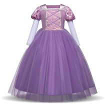 Kid Girl 3D Lace Embroidered Flowers Purple Pink Royal Gown Dress Mesh Sleeves Halloween Cinderella