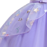 Kid Girl 3D Pearls Flowers Unicon Embroidered Stars Apples Strawberry Mesh Lace Princess Dress
