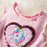 Kid Girl Heart Sequined Unicorn Rainbow Tutu Mesh Sleeveless Dress