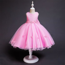 Kid Girl Hollow Embroidery 3D Flowers With Pearls And Big Bowknot Mesh Sleeveless Dress