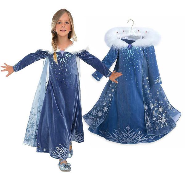 Kid Girl Frozen Anna Snowflake Winter Dress With Long Mesh Cloak