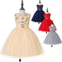 Kid Girl Sleeveless Fireworks Sequins Print With Bowknot Mesh Dress