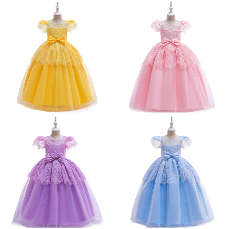 Kid Girl Hollow Out Embroidery Flowers Bowknot Royal Fly Sleeves Dressess