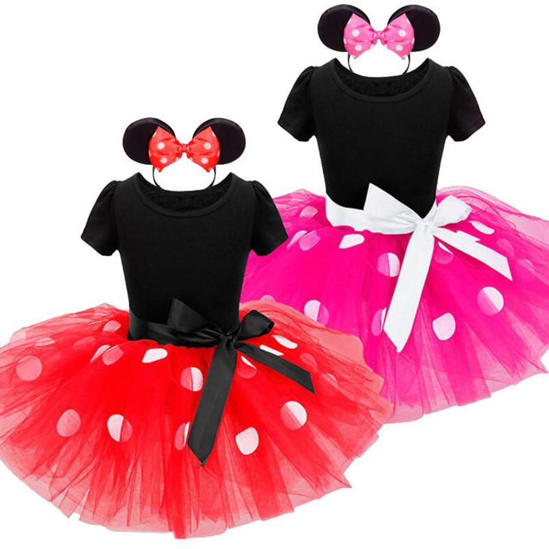 Kid Girl Big Dots Bowknot Mesh Tutu Dress With Mickey Headband