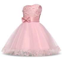 Kid Girl 3D Lace Flowers Bowknot Mesh Princess Gown Sleeveless Dresses