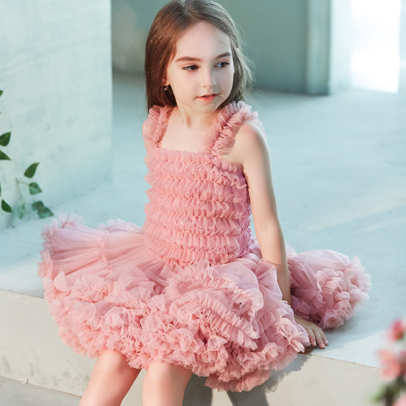 Kid Girl Concatenated Layers Tutu Mesh Straps Dress