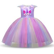 Kid Girl 3D Pearls Flowers Unicon Rainbow Tutu Princess Dress