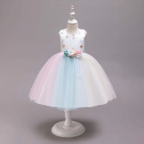 Kid Girl Embroidery Stars Moon 3D Flowers Colorful Mesh Flower Girl Dress With Bowknot