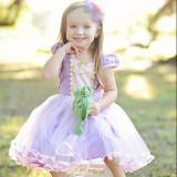 Kid Girl Lantern Sleeve Cross Binding With Bowknot Mesh Purple Princess Dress