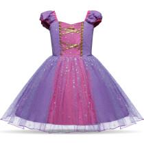 Kind Girl Snowflake Bowknot Print Cross Binding Princess Dress