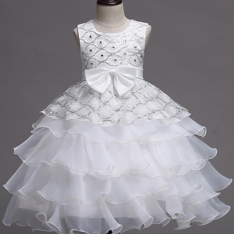 Kid Girl Sequins Diamond-Studded Layers Ruffles Lace Wedding Party Sleeveless Dress