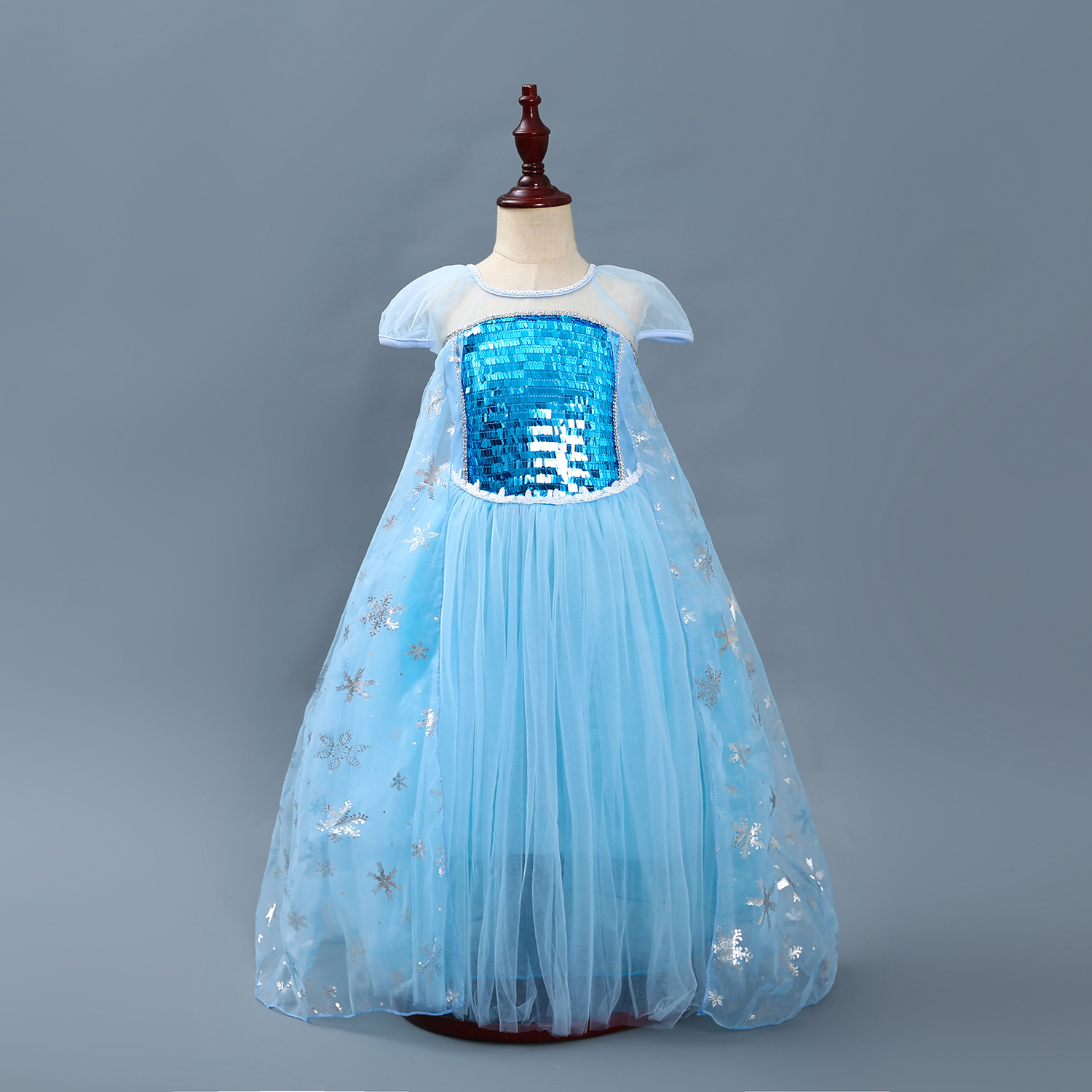 Kid Girl Blue Sequins Silver Snowflake Frozen Elsa Tutu Princess Dresses
