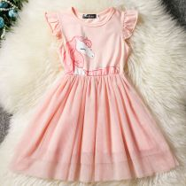 Kid Girl Unicorn Print Mesh Ruffles Sleeves Tutu Dress
