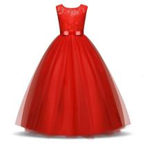Kid Girl Lace Flowers Bowknot Layers Mesh Princess Sleeveless Maxi Dress