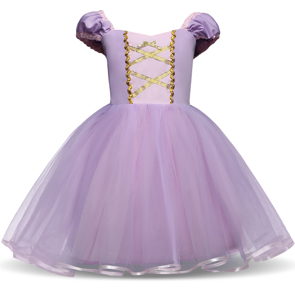 Kid Girl Lantern Sleeve Cross Binding With Bowknot Mesh Purple Princess Dress