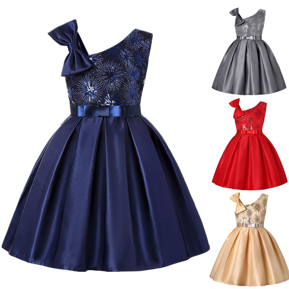 Kid Girl Sleeveless Fireworks Sequins Print With Bowknot Strap Dress