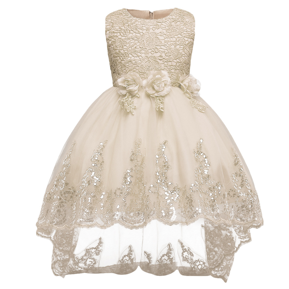 Kid Girl Sleeveless 3D Flowers And Sequins Of Mesh Embroidered Dress