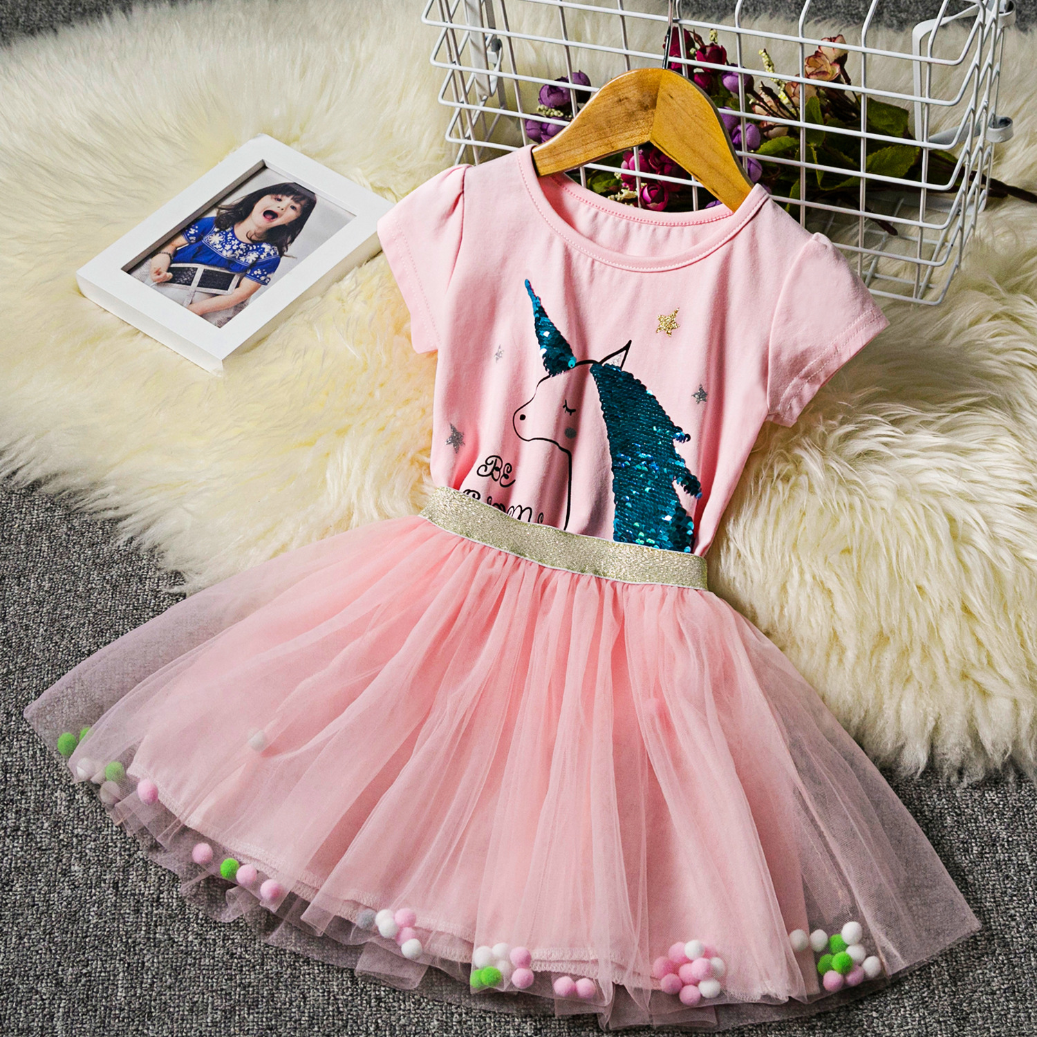 Kid Girl Unicorn Sequined Top and Pompom Tutu Mesh Skirt Two Pieces