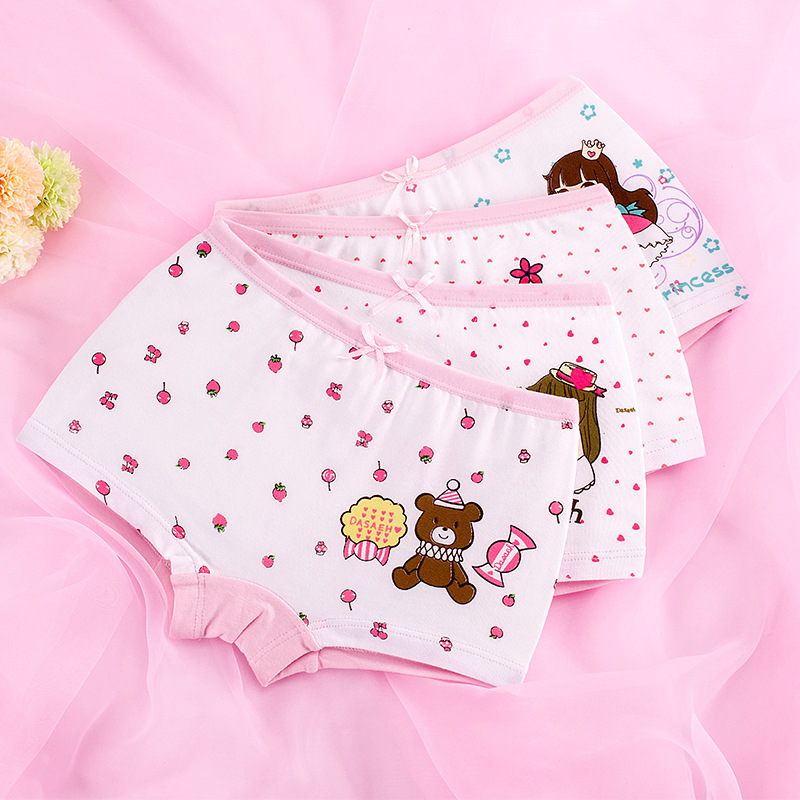 Kid Girls 4 Packs Print Princess Bear Hearts Boxer Briefs Cotton Underwear