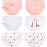 Kid Girls 3 Packs Cartoon Zebra Giraffe Boxer Briefs Cotton Underwear