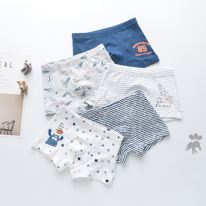 Kid Boys 5 Packs Print Rocket Boxer Lion Briefs Cotton Animal Underwear