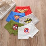 Kid Boys 5 Packs Print Superman Spider Man Boxer Briefs Cotton Underwear