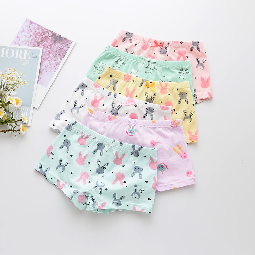 Kid Girls 5 Packs Prints Rabbits Boxer Briefs Cotton Underwear