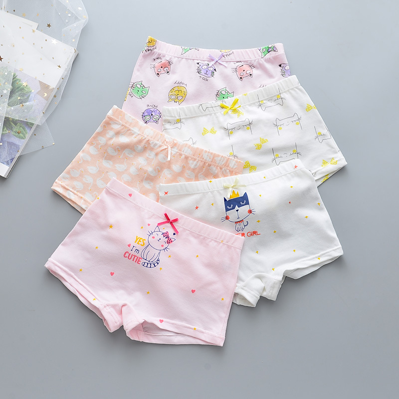 Kid Girls 5 Packs Print Cute Cat Boxer Briefs Cotton Underwear